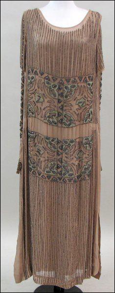1920'S BEADED CHIFFON DRESS