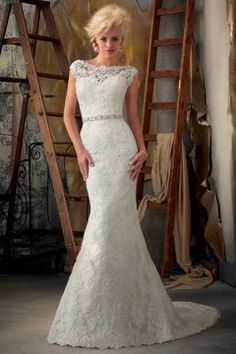 Backless Bateau Neck Lace Mermaid Wedding Dress