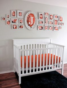 Very cute alternative to an alphabet wall, with the baby's initial larger than all the rest.  It would be cute with all 3 initials (first, middle, and last name) all in bigger frames too.