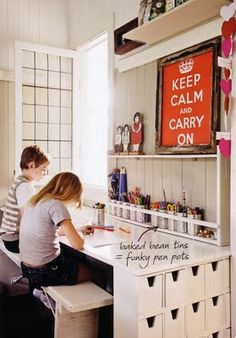awesome use of small drawers and shelf in this kids art space