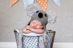 Custom Order Koala Earflap Hat photo prop sz nb. $20.00, via Etsy. Newborn and Baby Photography props #Snipits #Snipitsink #LaurenBrownPhotography