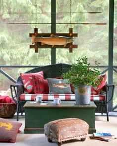 lake houses, outdoor porch, log cabins, adirondack style, cushion, great lakes, fishing poles, cabin style, screened porches