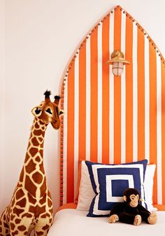orange & white striped headboard