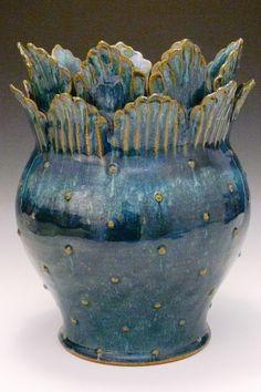 Yvonne Brown Pottery - teal vase