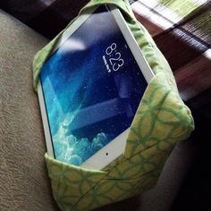 Green ipad/ tablet pillow stand on Etsy, $20.00