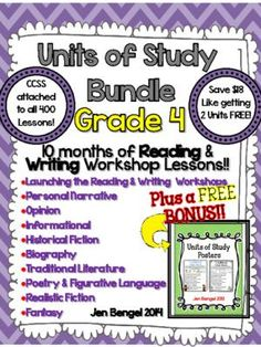 Units of Study Bundle: Grade 4 10 Months of Reading & Writing Lessons w/ CCSS!! from Jen Bengel on TeachersNotebook.com -  (1025 pages)  - Unit of study bundle.  10 months of reading and writing Common Core lessons!