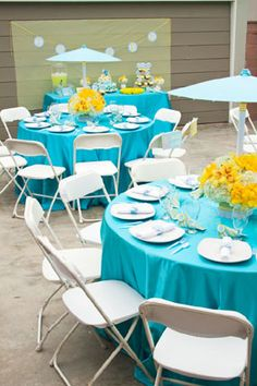 turquoise blue and yellow elegant elephant baby shower tables