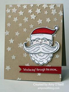 Amy O'Neill: Amy's Paper Crafts - Santa in the Stars - 9/4/14 (SU: Santa Stache stamp, Stars Devorative Mask)