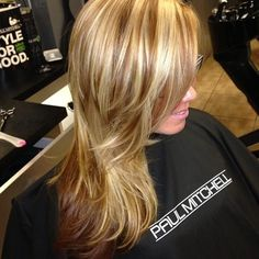 caramel blonde highlights and milk chocolate low lights...I want this done to my hair!!!