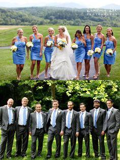 Blue and yellow wedding.. bridesmaids and groomsmen