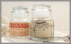 Turn old candle jars into antique style apothecary jars with free printable antique labels via KnickofTimeInteriors.blogspot.com