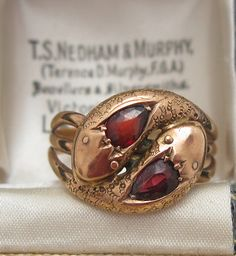 Victorian Chunky Gold & Garnet Double Snake Ring