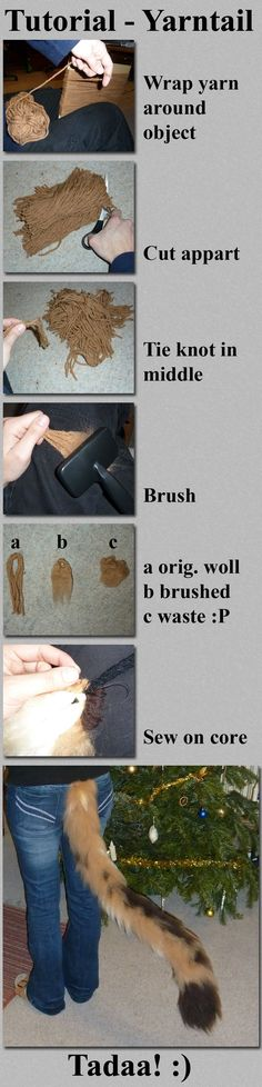 TUTORIAL- Yarn Tail. This is so cool! I would do this for a fox tail keychain instead of paying like $20 for a small tail at a store DIY tail cat fox wolf cosplay