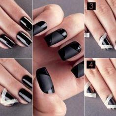 Black Nail Design - DIY matte nails, nail art tutorials, nail art designs, nail designs, makeup lips, nail art ideas, nail arts, black nails, matte black