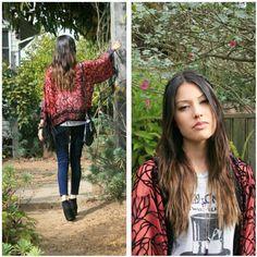 Blogger Izumi of Hybrid Hunter in our Saltwater Gypsy velvet burnout kimono!