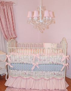 Fairytail Princess Crib Bedding Set by Little Bunny Blue, Luxury Crib Bedding, High end Baby Bedding, upscale Nursery, designer crib set, little bunny