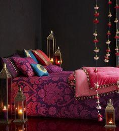 dark walls + bright bed....
