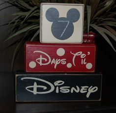 Personalized COUNTDOWN chalkboard Disney Vacation Mickey Mouse Word Blocks Sign Distressed Stacking Shelf Blocks Home Decor Gift