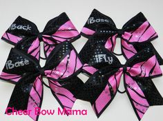 Stunt Group (iFly, 2-iBase, iBack) Cheer Bows Pink Zebra Matching Set by Cheer Bow Mama