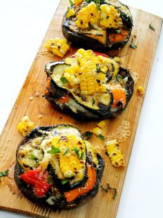 "Cedar Planked Grilled Portobellos Stuffed with Summer Veggies, either no cheese, a nutritional  vegan ""cheese sauce"" or other homemade vegan ""cheese"", or something like daiya (non-dairy cheese) to make these vegan and Jason friendly"