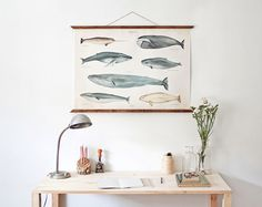 LARGE A1 Whales poster  vintage illustration by ARMINHO on Etsy, $120.00
