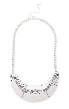 Deb Shops Short Statement Necklace with Hammered Metal Pendant $6.00