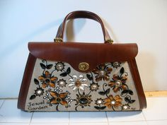 Enid Collins JEWEL GARDEN Jeweled Purse 1960's Unusual Shape & Flap #EnidCollins