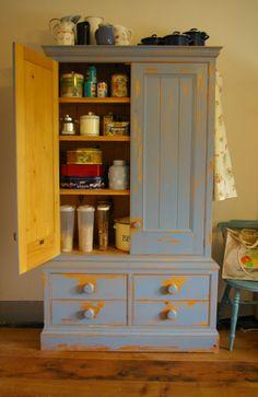 Freestanding distressed larder cupboard