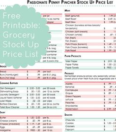 Free printable Grocery Stock Up Price List