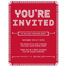 Ugly Sweater Christmas Party Invitation from PearTreeGreetings.com will set the mood for your party
