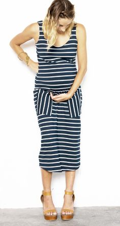 Fillyboo Maternity Baby Let's Dance Maternity Tank dress in Navy