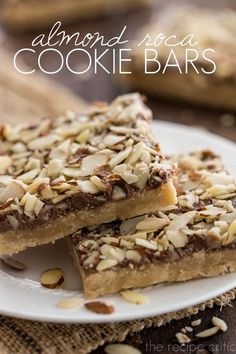 Almond Roca Cookie Bars | The Recipe Critic bar recip, almonds, almond roca bars, cooki bar, almond roca butter bars, roca cooki, almond flour chocolate cake, bar cookies, almond dessert recipes