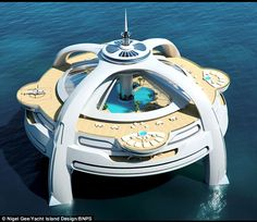 With 11 accommodation decks, a 360-degree observation area, four helipads, its own dock, several swimming pools and as much space as a cruise liner, it's not so much a boat as a city.    Read more: http://www.dailymail.co.uk/news/article-2041639/Dream-home-The-floating-city-future-life-sea.html#ixzz1sBXyRF9Z