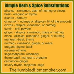 cook, simpl herb, herbs, food, chart, kitchen, recip, spices, spice substitut