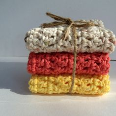 Perfect Hostess Gift Cotton Wash Cloths Hand Crocheted Washcloths Gift Giving or Holiday Decorating