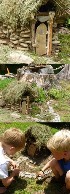 A fairy garden house in miniature world, built by 6 and 7 year old boys in the woods of North Carolina.