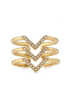 Lightweight and delicate, the Pave Chevron Ring is a modern take on the cocktail ring.