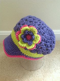 Spring Girls Crochet Flower Hat with Brim, Kids Crochet Hat, News Boy Hat, Baby Hat.