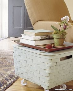 Basket side storage table on casters.