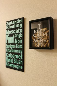 8X10 Wine Cork Holder, Cork Keeper, Keep Calm Wine On, Keep Calm Drink Wine, Wedding Date, Shadow Box, ETCHED glass VINYL on Etsy, $36.00