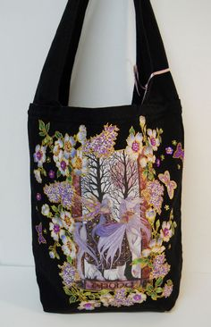 Tote Bag Black Canvas Hand Painted Custom Fantasy by paulagsell, $114.00