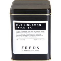 Hot cinnamon spice flavored black tea. Blend of black teas, three types of cinnamon, orange peel, and sweet cloves.  I want this tea