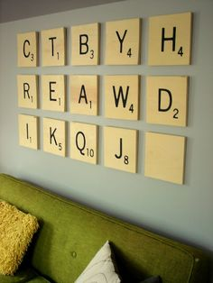 Large DIY Scrabble tile wall.