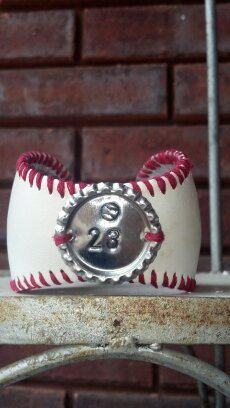 Baseball Cuff Bracelet. Team Mom. Custom With Players Number Hand Stamped On Bottle Cap & Choice Of Lace Color. Baseball Mom.. $25.00, via Etsy.