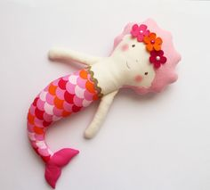 Mermaid doll for children. Pink and coral handmade doll for little girls. Birthday gift for girls. Pink rag doll