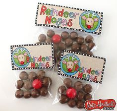 Lizzie got these in 1st grade from a classmate.. big hit.. I want to make them this year.. you can also use Red gumballs too for Rudolph.. Reindeer Noses Printables. Fill a bag with some malted milk balls and one red Gobstopper (we can't forget Rudolph) for a super sweet treat! Then, add this adorable printable from Kate Hadfield and your gift will stand out like Rudolph's nose in the fog!