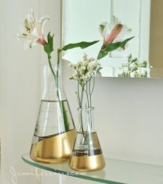 Using lab flasks as vases dipped in gold
