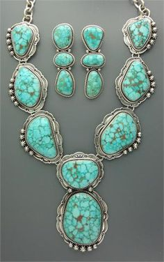 Turquoise Necklace and Earrings by Mike Thompson - from Four Winds Gallery