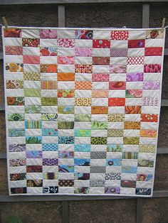 quilting inspiration A good way to use scraps.  Perfect for the ombré/rainbow look Isabelle likes. color design, diy crafts, colors, quilt inspir, quilts, color wheels, quilting, quilt idea, rainbow