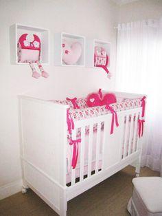 Decoração // Quarto para Bebê // Menina // Simples // Rosa Claro, Rosa Pink e Branco // Lindo // ♥